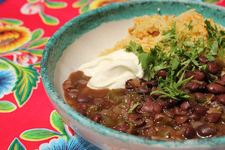 Cuban black beans with turkish carrot pilaf