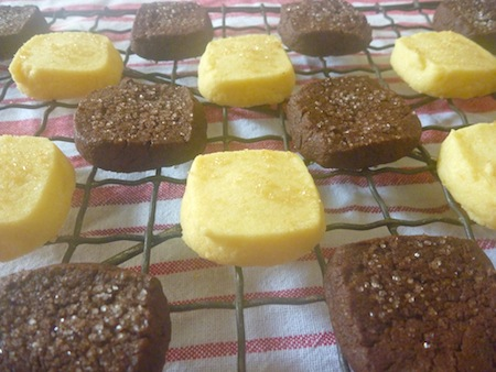Chocolate sable cookies and lemon shortbread