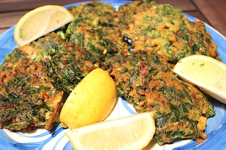 Vegan spinach zucchini and pea fritters