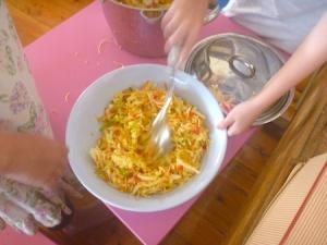 Mixing Chang's crispy noodle coleslaw