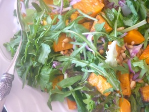 Rocket pumpkin and pinenut salad