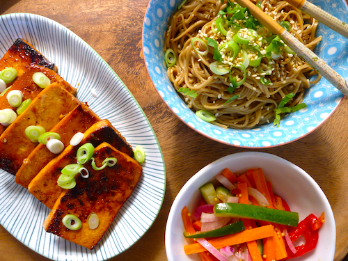 Barbecued tofu steaks / Sesame soba noodles / Quick carrot and ...