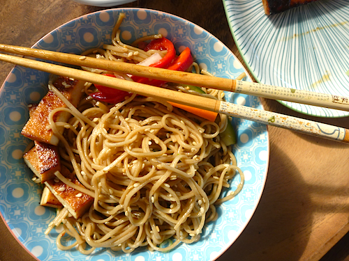 Sesame noodles with barbecued tofu steaks and quick carrot and cucumber pickle