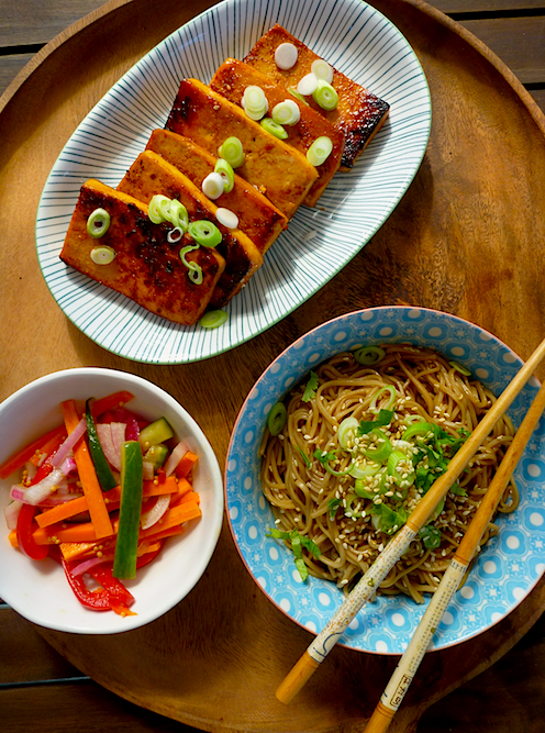 Sesame noodles with barbecued tofu steaks and quick carrot and cucmber ...