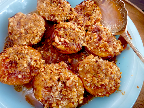 Nigel Slater's baked peaches with almond crumble