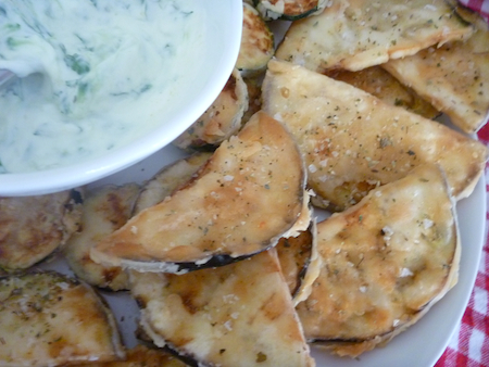Tzatziki with crispy eggplant and zucchini fritters