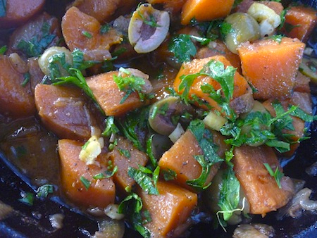 Middle Eastern sweet potato salad with green olives