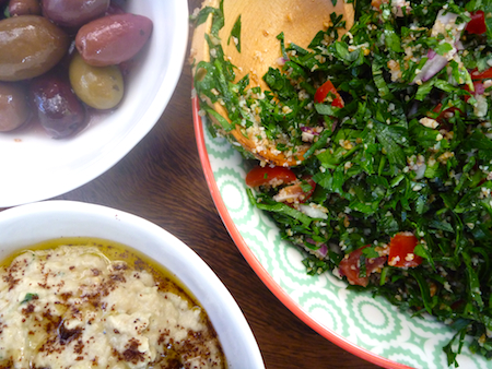 Smokey baba ganoush and tabouleh