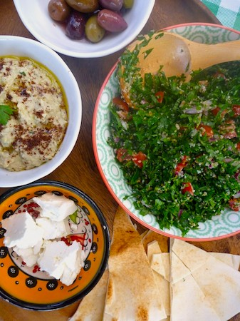 tabouleh and smokey baba ghanoush