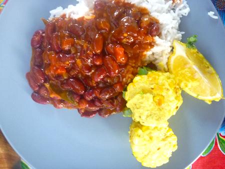 Red kidney bean rajma dahl and rice