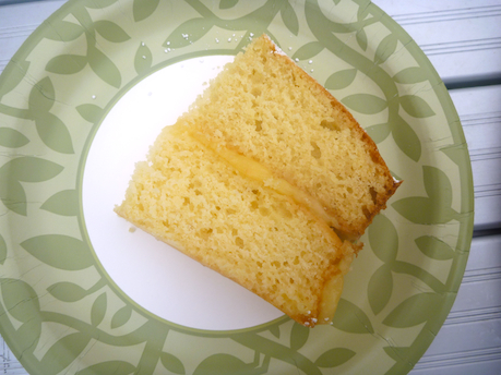 Slice of Greek yoghurt cake with lemon curd