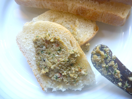 Green olive artichoke and walnut tapenade with bread