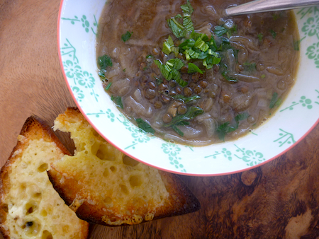 French lentil and onion soup with cheesey croutons