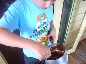 Licking the saucepan