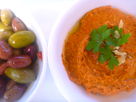 Muhammara red pepper, walnut and pomegranate dip with olives