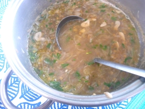 French lentil and onion soup in pot