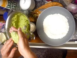 Shaping potato cakes