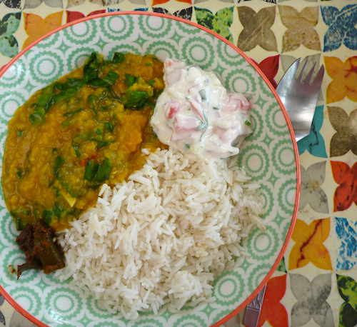 Spinach Dahl with rice, raita and pickle