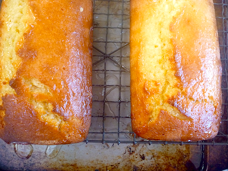 Lemon and buttermilk pound cake with syrup