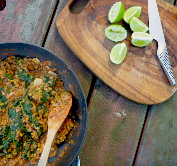 Mongo - Filipino mung bean dahl with tomatoes, spinach and lime