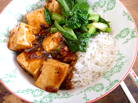 Fuchsia Dunlop's vegetarian mapo tofu with greens