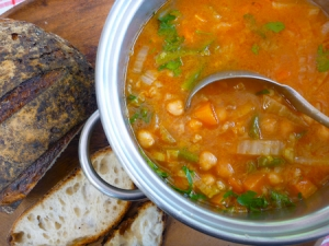 pot of vegetarian minestrone with Iggy's bread