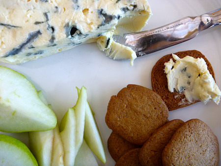 Homemade Swedish ginger thins served with blue cheese