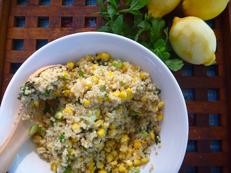 Lemon infused quinoa with corn and mint