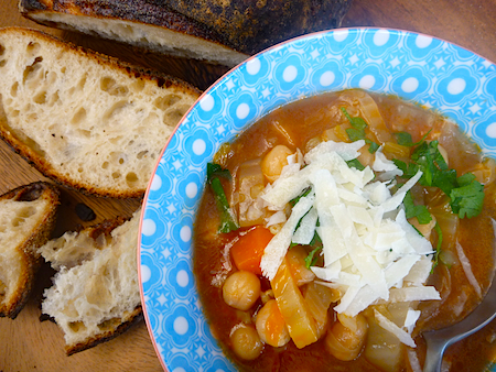 Winter soup vegetarian minestrone with chickpeas