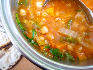 Pot of vegetarian minestrone with chickpeas