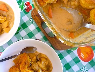 Vegetable cobbler with polenta buttermilk scones