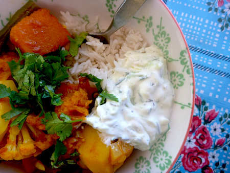 Mixed veggetable curry with rice and Tzatziki