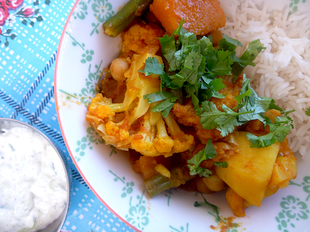 Mixed vegtable and chickpea curry with rice