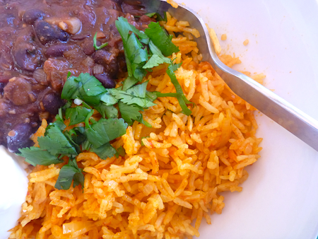 Vegetarian Spanish rice wth black beans