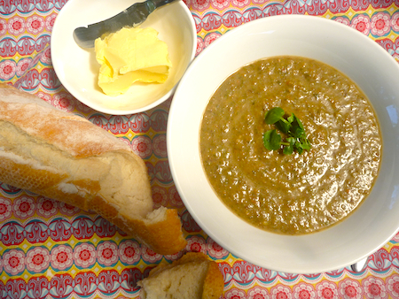 Lentil, fennel and cress soup