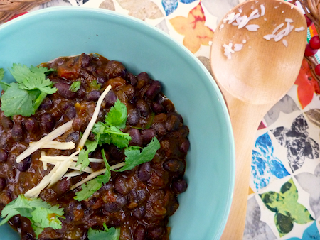 Black beans cooked in Indian style dahl