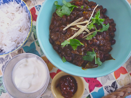 Indian black bean dahl on tray