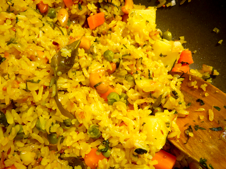 Indian breakfast food  Poha Rice flake pilaf