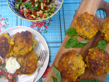 Southern corncakes with fresh salsa and whipped feta