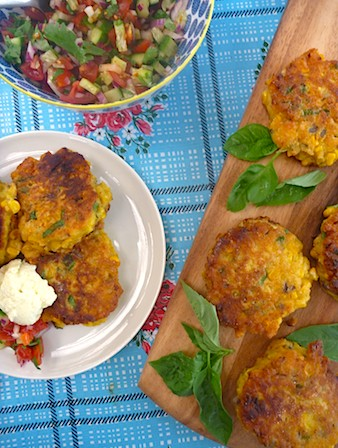 Summer corn cakes with fresh salsa and whipped feta