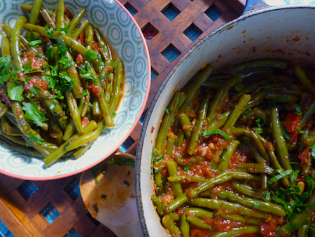 Fasolakia - Slow braised Greek green bean stew