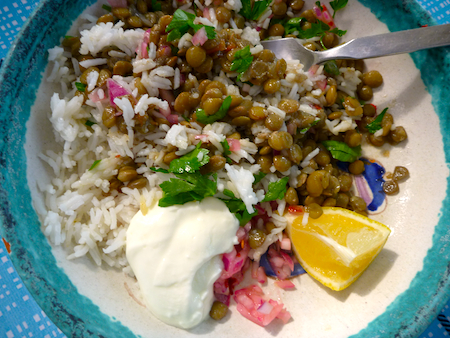 Peruvian lentils and rice with red onion salad