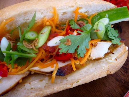 Vegetarian banh mi - Vietnamese salad rolls with marinated tofu