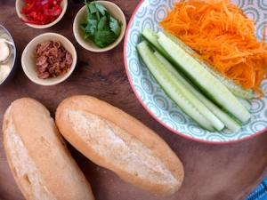 Vegetarian banh mi rolls