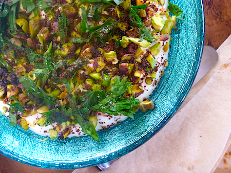Labneh dip with pistachios, parsley, sumac and lemon