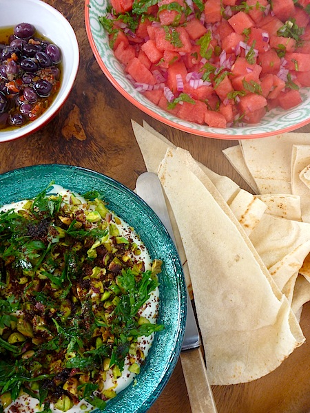 Labneh dip with pistachios, parsley, sumac and watermelon salad