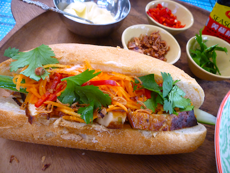 Vegetarian banh mi - Vietnamese salad rolls with marinated tofu