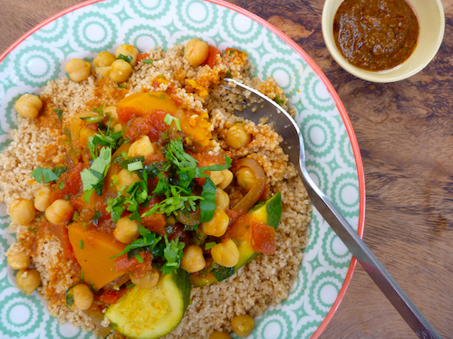 Morrocan chickpea and pumpkin stew with cous cous