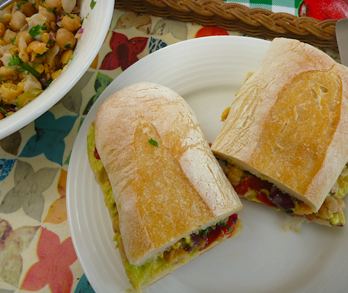 Smashed chickpea salad sandwich
