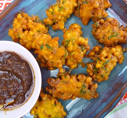 Indian corn fritters - pakoras